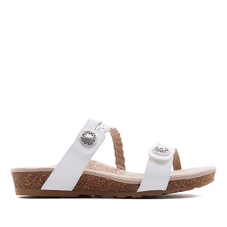 Aetrex® Janey Braided Leather Slide Sandal