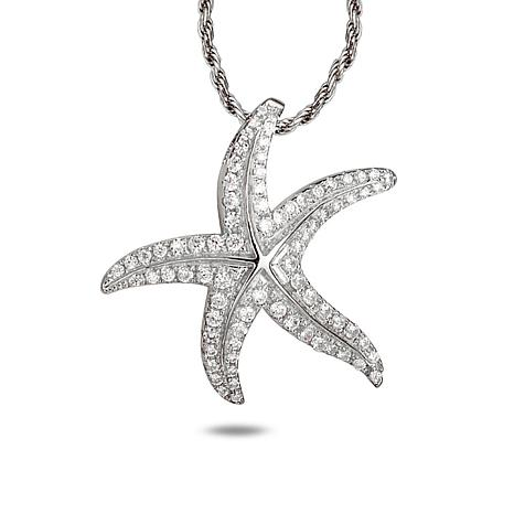 Alamea Sterling Silver CZ Starfish Pendant with Chain Necklace