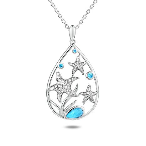 Alamea Sterling Silver Larimar and Blue Topaz Starfish Pendant w/Chain