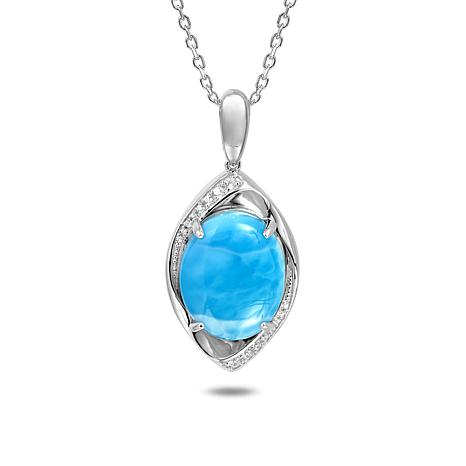 Alamea Sterling Silver Larimar and Topaz Pendant Necklace