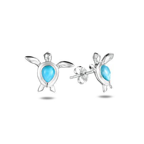 "Alamea Sterling Silver Larimar ""Honu"" Earrings"