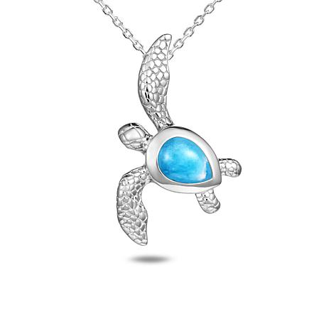Alamea Sterling Silver Larimar Turtle Pendant Necklace