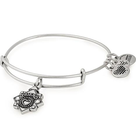 "Alex and Ani ""Friend"" Adjustable Wire Bangle Crystal Charm Bracelet"
