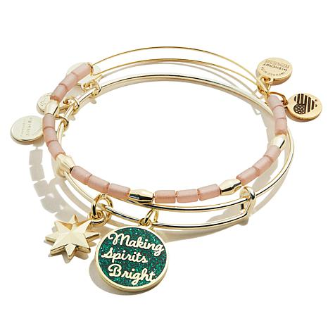 """Alex and Ani Words are Powerful """"Spirits Bright"""" 2-piece Bangle Set"""