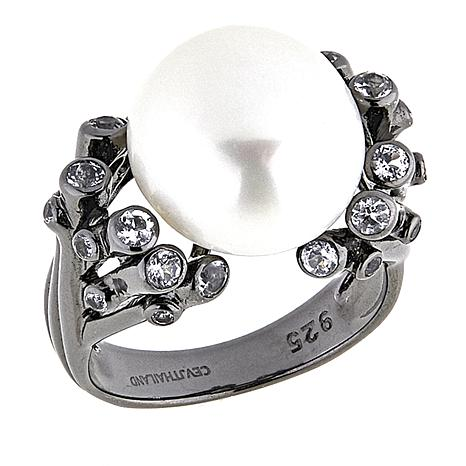 Amara Jewelry Collection 12-13mm Cultured Pearl and White Topaz Ring