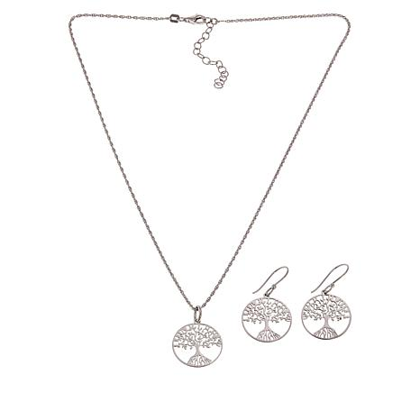 62afdca60 Amena K® Silver Designs Tree of Life Earrings and Pendant-Chain Set -  8982189 | HSN