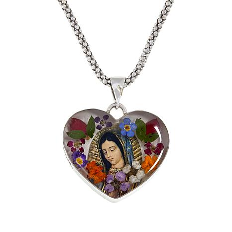 Amena K® Silver Designs Virgin Mary Flower Pendant with Chain