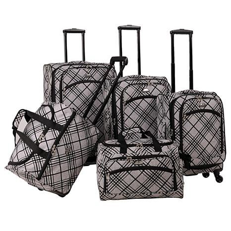 American Flyer Silver Stripes 5pc Spinner Luggage Set