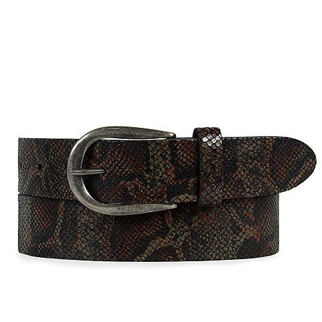 Amsterdam Heritage Cécile Python Snake Print Leather Belt