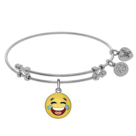 Angelica Crying Laughing Emoji Dangle Wire Expansion Bangle Bracelet