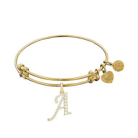 Angelica CZ Initial Dangle Wire Expansion Bracelet