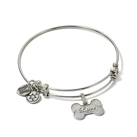 "Angelica Dog Bone Charm 7"" Slide-Clasp Bangle Bracelet"