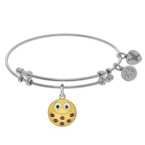 Angelica Kisses Emoji Dangle Wire Expansion Bangle Bracelet
