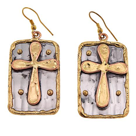 Anju Tri-Tone Rectangular Cross Drop Earrings