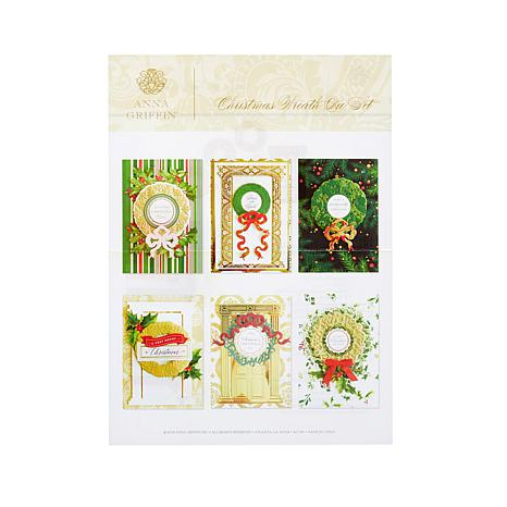 anna griffin christmas wreaths with bows die set 8791451 hsn - Horseshoe Christmas Wreath