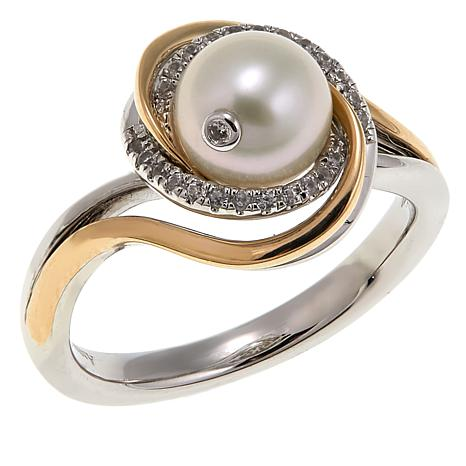 Anne Geddes 7-7.5mm Cultured Pearl Sterling Silver and 14K Swirl Ring