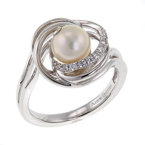 "Anne Geddes ""Life"" White Cultured Freshwater Pearl Swirled Ring"