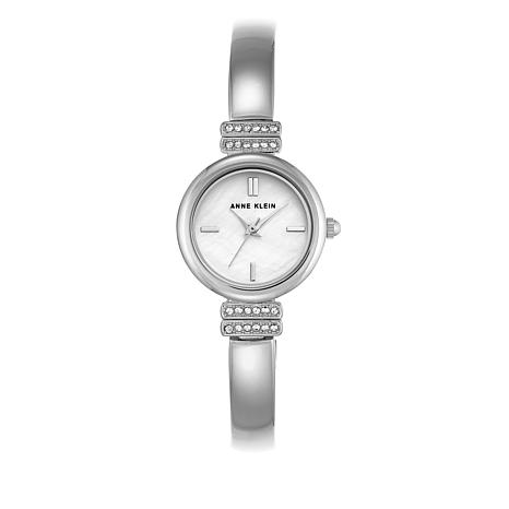 Anne Klein Crystal-Accented Semi-Bangle Watch