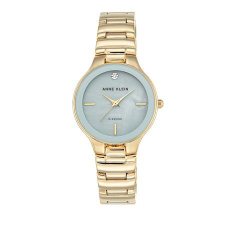 Anne Klein Diamond Accent Blue Dial Bracelet Watch