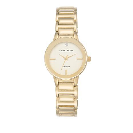 Anne Klein Diamond Accent Champagne Dial Bracelet Watch