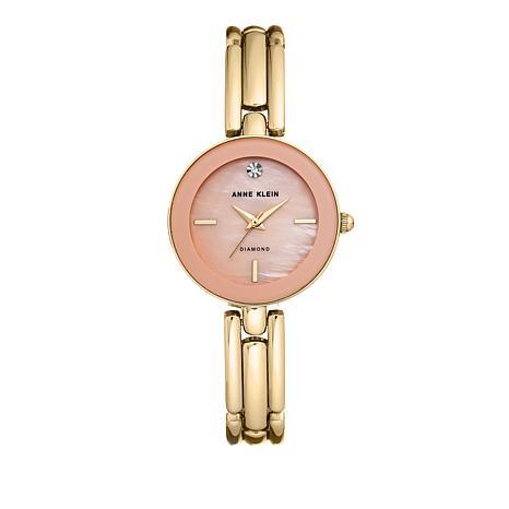 Anne Klein Diamond Accent Goldtone Pink Dial Slim Bracelet Watch