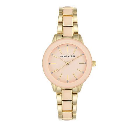 Anne Klein Goldtone Glossy Pink Dial Bracelet Watch