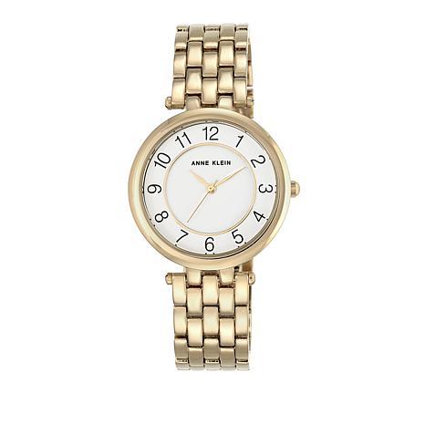 Anne Klein Goldtone Glossy White Dial Dress Bracelet Watch
