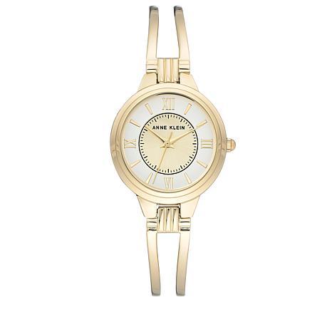 Anne Klein Goldtone Open Bangle Bracelet Watch