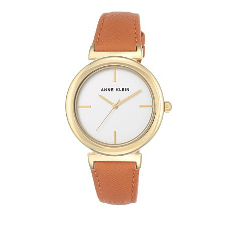 Anne Klein Goldtone Orange Faux Leather Strap Watch