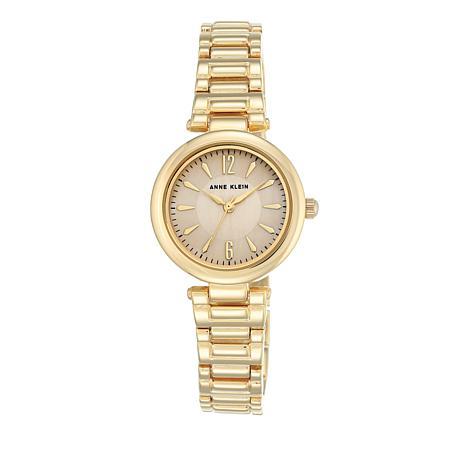 Anne Klein Goldtone Round Blush Dial Dress Watch