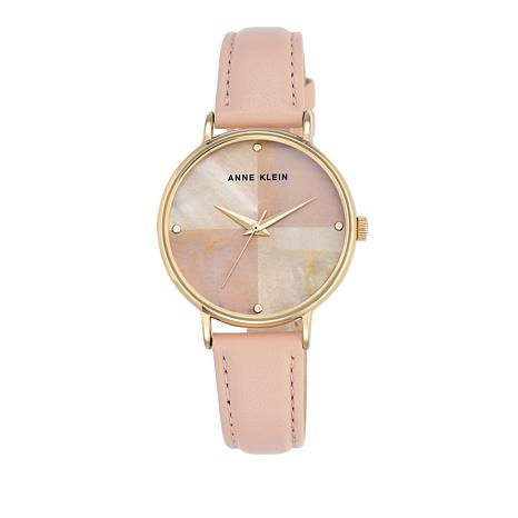 Anne Klein Goldtone Round Pink Dial Leather Strap Watch