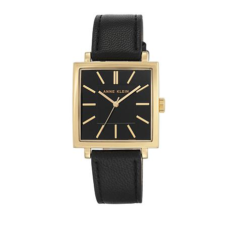 Anne Klein Goldtone Square Black Dial Watch