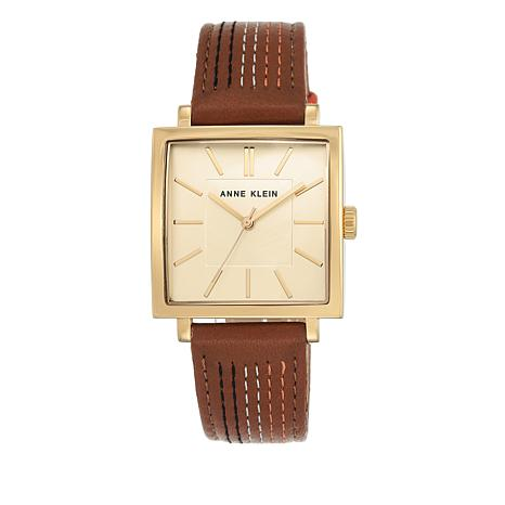 Anne klein goldtone square dial brown leather strap watch 8563255 hsn for Anne klein leather strap