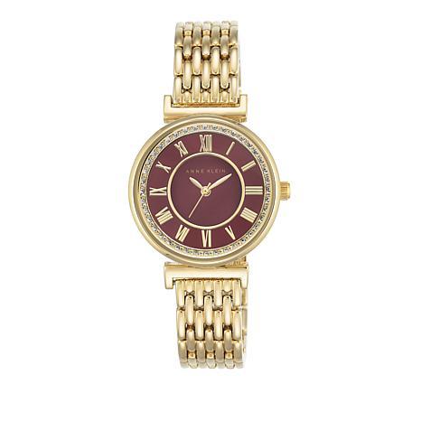 Anne Klein Round Red Dial Pavé Bezel Bracelet Watch
