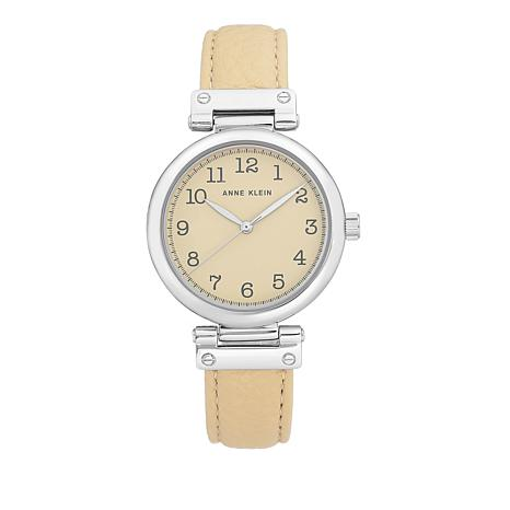 Anne Klein Silvertone Beige Faux Leather Strap Watch