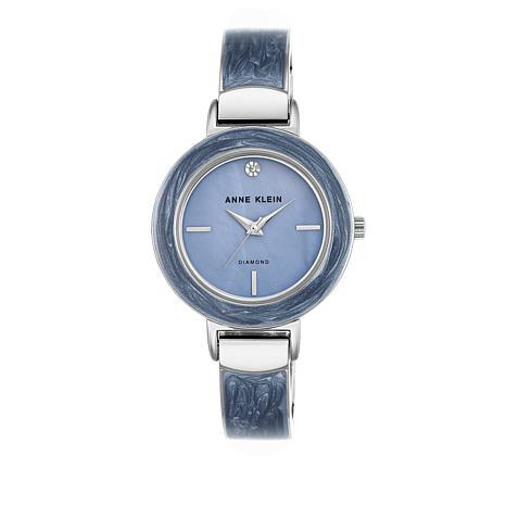 Anne Klein Silvertone Blue Bezel Bracelet Watch