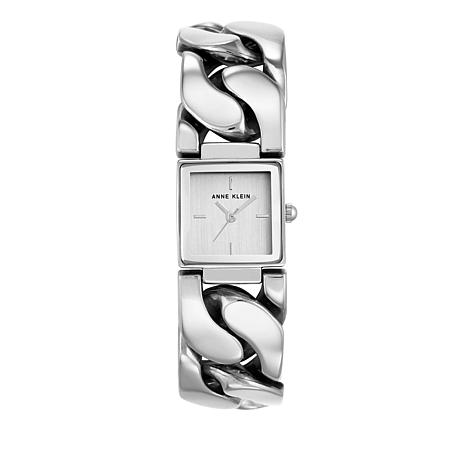 Anne Klein Silvertone Square Dial Chain Bracelet Watch