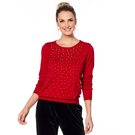 """Antthony """"Diamond Touch"""" Embellished Knit Sweater"""