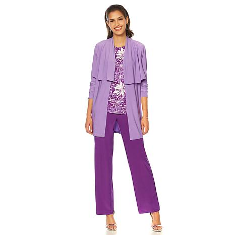 """Antthony """"Knit to my Heart"""" Ruffle Jacket, Printed Tank and Pant Set"""