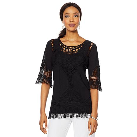 "Antthony ""Lacey Days"" Crochet Tunic and Jersey Knit Tank"