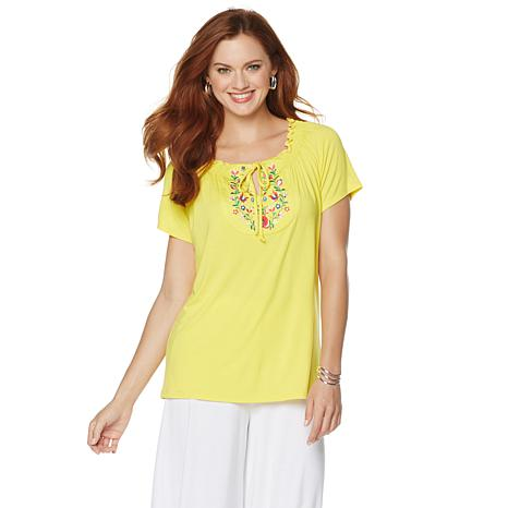 """Antthony """"Natalie"""" Embroidered Peasant Top"""