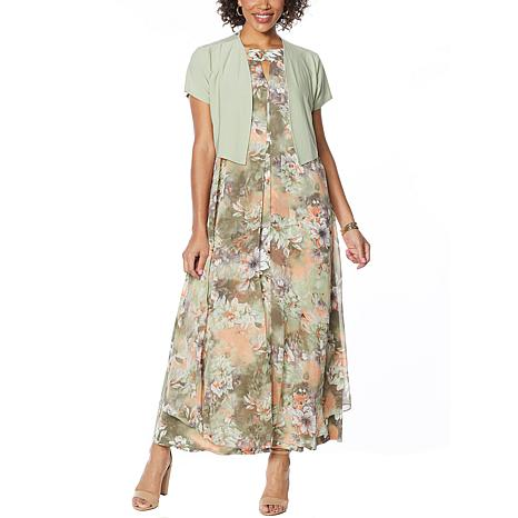 """Antthony """"Natural Flow"""" Printed Maxi Dress and Solid Bolero"""