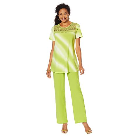 """Antthony """"Ocean Waves"""" 2-piece Crochet Top and Pant Set"""