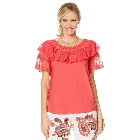 """Antthony """"Ocean Waves"""" Lace-Trim Top"""