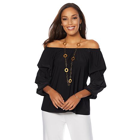 """Antthony """"Signature Classic"""" Ruffled Sleeve Off-the-Shoulder Top"""