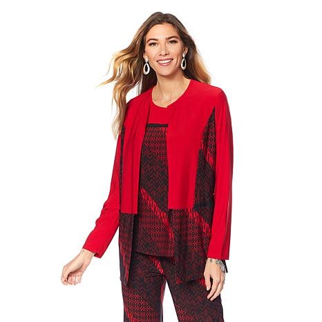 """Antthony """"Timeless Textures"""" 2-piece Colorblocked Jacket and Top Set"""