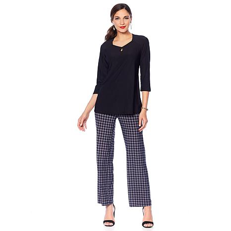 """Antthony """"Timeless Textures"""" 2-piece Top and Printed Pant Set"""