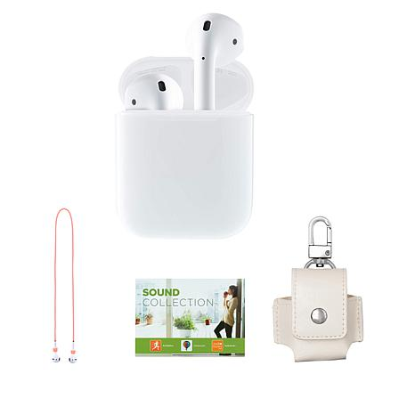 Apple AirPods 2nd Gen Earbuds & Charging Case w/Leather Case & Voucher