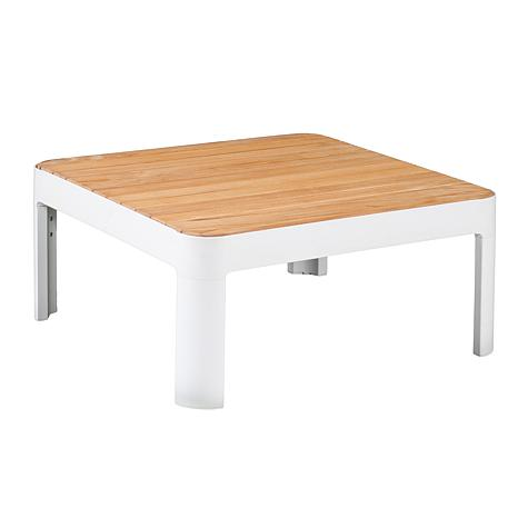 Arden Aluminum and Teak Outdoor Square Cocktail Table