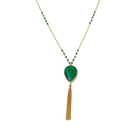 Argento Vivo Green Onyx and Tassel Necklace